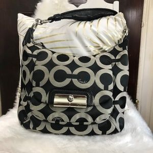 Coach Kristin Op Art Sateen Hobo black purse